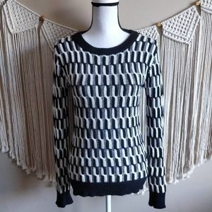 Cable Knit Houndstooth Black Cream Sweater S